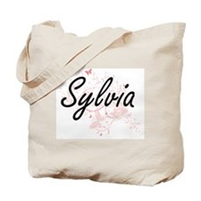 Sylvia Artistic Name Design with Butterfl Tote Bag