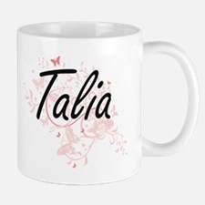 Talia Artistic Name Design with Butterflies Mugs