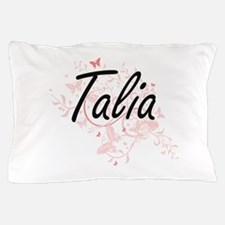 Talia Artistic Name Design with Butter Pillow Case