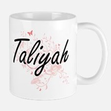 Taliyah Artistic Name Design with Butterflies Mugs