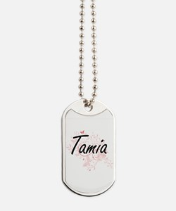 Tamia Artistic Name Design with Butterfli Dog Tags