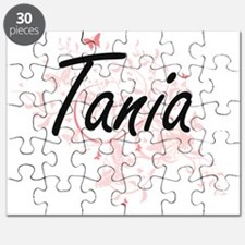 Tania Artistic Name Design with Butterflies Puzzle