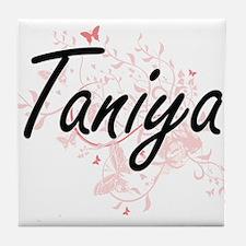 Taniya Artistic Name Design with Butt Tile Coaster