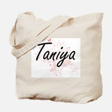 Taniya Artistic Name Design with Butterfl Tote Bag