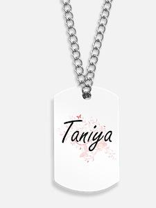 Taniya Artistic Name Design with Butterfl Dog Tags