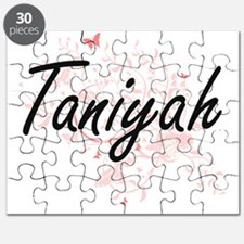Taniyah Artistic Name Design with Butterfli Puzzle