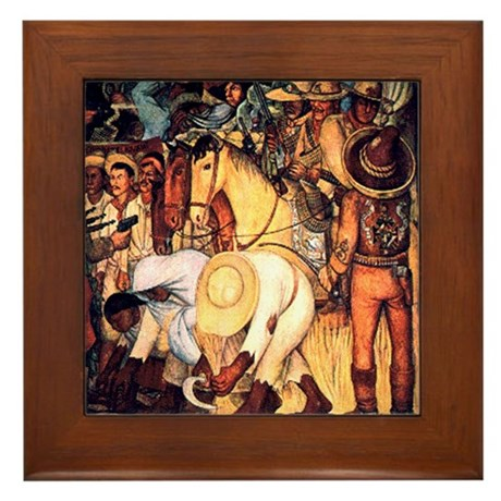 Diego Rivera Opressed Peasants Framed Art Tile