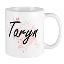 Taryn Artistic Name Design with Butterflies Mugs