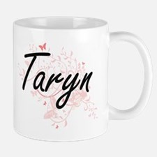 Taryn Artistic Name Design with Butterflies Mugs