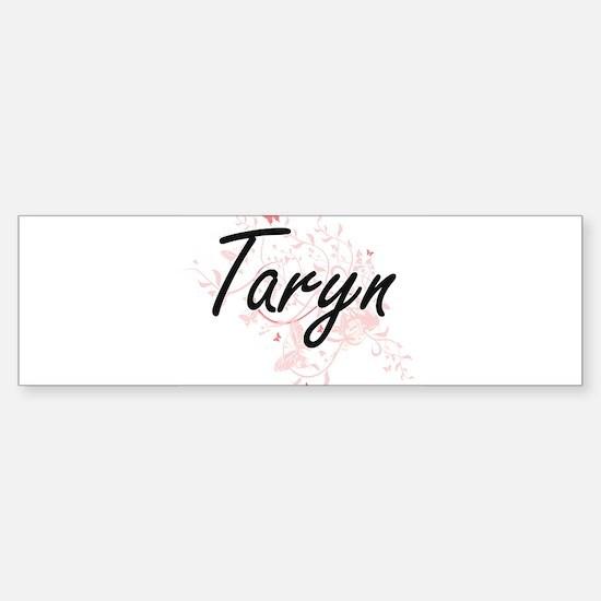 Taryn Artistic Name Design with But Bumper Car Car Sticker