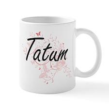 Tatum Artistic Name Design with Butterflies Mugs