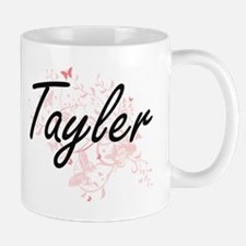 Tayler Artistic Name Design with Butterflies Mugs