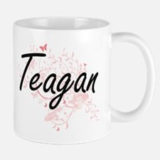 Teagan Artistic Name Design with Butterflies Mugs