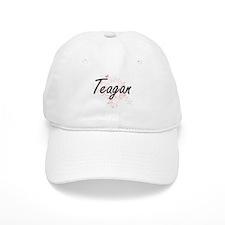 Teagan Artistic Name Design with Butterflies Baseball Cap