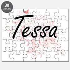 Tessa Artistic Name Design with Butterflies Puzzle