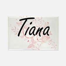 Tiana Artistic Name Design with Butterflie Magnets
