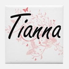 Tianna Artistic Name Design with Butt Tile Coaster