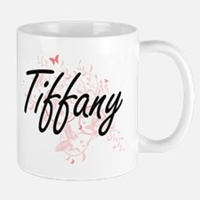 Tiffany Artistic Name Design with Butterflies Mugs