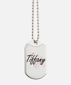 Tiffany Artistic Name Design with Butterf Dog Tags