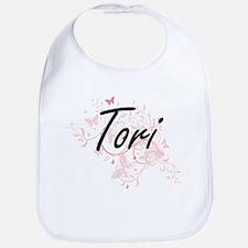 Tori Artistic Name Design with Butterflies Bib