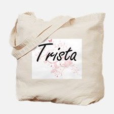 Trista Artistic Name Design with Butterfl Tote Bag