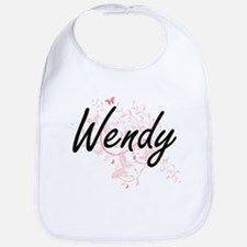 Wendy Artistic Name Design with Butterflies Bib