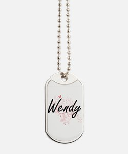 Wendy Artistic Name Design with Butterfli Dog Tags