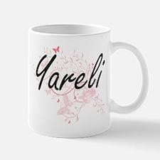 Yareli Artistic Name Design with Butterflies Mugs