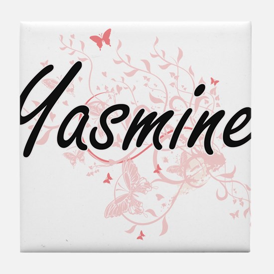 Yasmine Artistic Name Design with But Tile Coaster