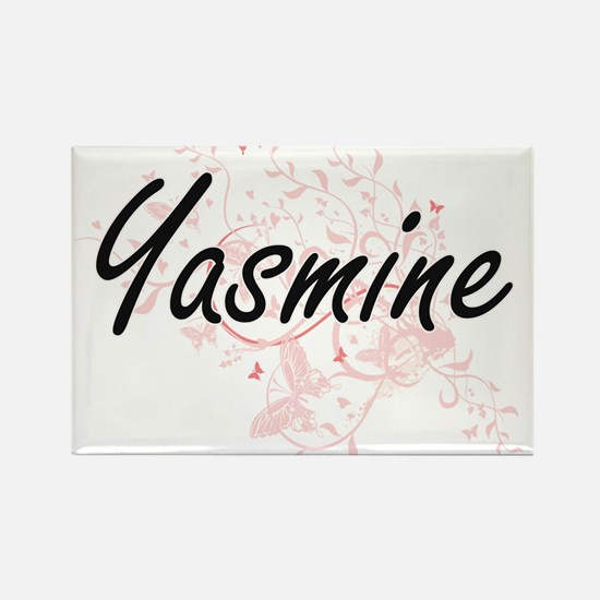Yasmine Artistic Name Design with Butterfl Magnets