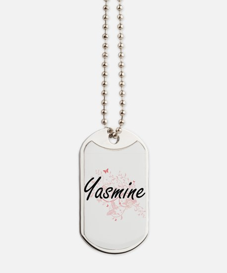 Yasmine Artistic Name Design with Butterf Dog Tags