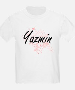 Yazmin Artistic Name Design with Butterfli T-Shirt