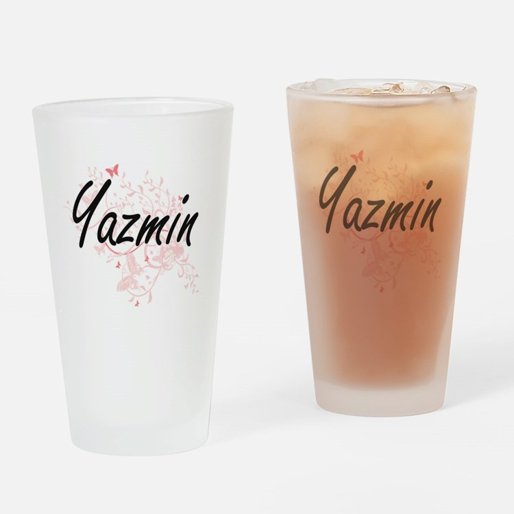 Yazmin Artistic Name Design with Bu Drinking Glass
