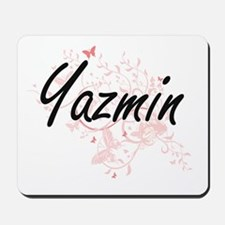 Yazmin Artistic Name Design with Butterf Mousepad