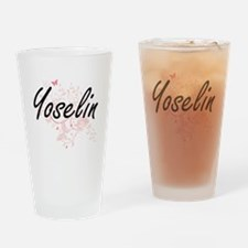 Yoselin Artistic Name Design with B Drinking Glass