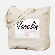 Yoselin Artistic Name Design with Butterf Tote Bag