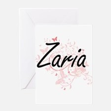 Zaria Artistic Name Design with But Greeting Cards