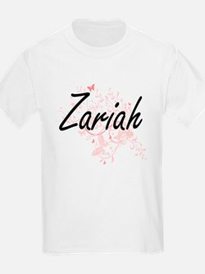 Zariah Artistic Name Design with Butterfli T-Shirt
