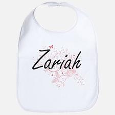 Zariah Artistic Name Design with Butterflies Bib