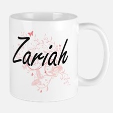 Zariah Artistic Name Design with Butterflies Mugs