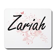 Zariah Artistic Name Design with Butterf Mousepad