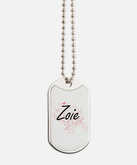 Zoie Artistic Name Design with Butterflie Dog Tags