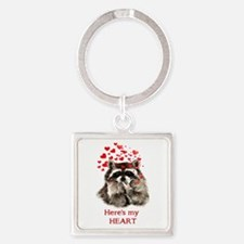 Here's My Heart Cute Raccoon Blowing Keychains