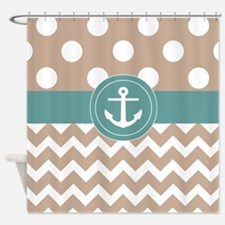 Unique Turquoise polka dots Shower Curtain