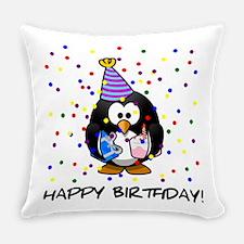 Happy Birthday Penguin Everyday Pillow
