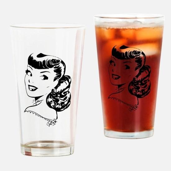 Vintage Girl Drinking Glass