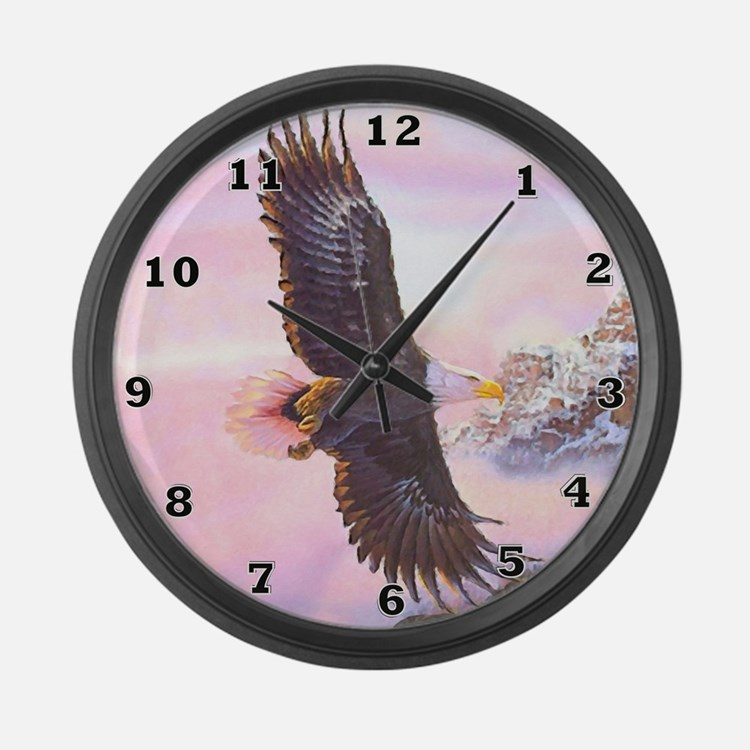 Eagles in Mist Large Wall Clock