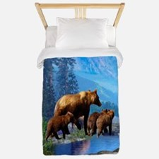 Mountain Grizzly Bears Twin Duvet