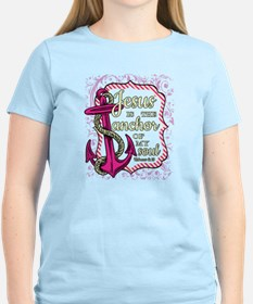 Jesus is the Anchor of my Soul - pink T-Shirt