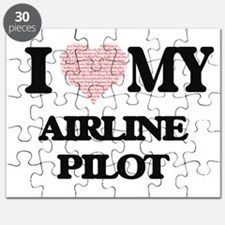 I love my Airline Pilot (Heart Made from Wo Puzzle